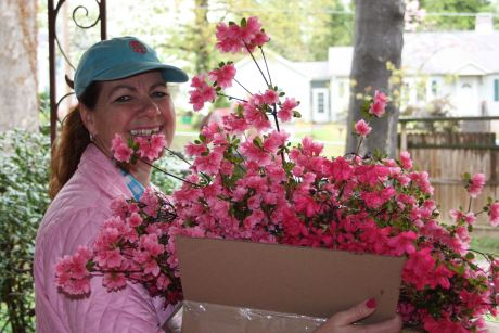 Ruth with azaleas from my yard.