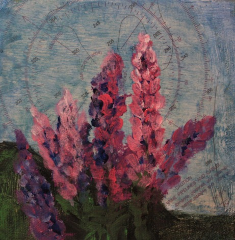 "Lupines ©Katy Allgeyer 5"" x 5"" Mixed Media with compass wheel /nautical chart"
