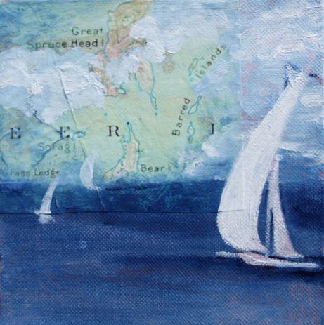 "Sail Away © Katy Allgeyer 6"" x 6"" Mixed Media"